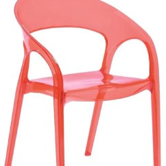 Transparent Polycarbonate Chairs Folding Rocking Chair Wood Dining Plastic In Clear Red Set Of 4