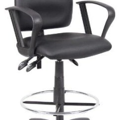 Drafting Chairs With Arms Upholstered Folding Chair Ergonomic Stool Black Leatherette Draft Loop Arm Nicer Interior