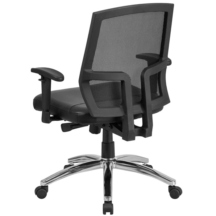 tall swivel chair race gaming 400 lb big black mesh mid back executive with leather seat