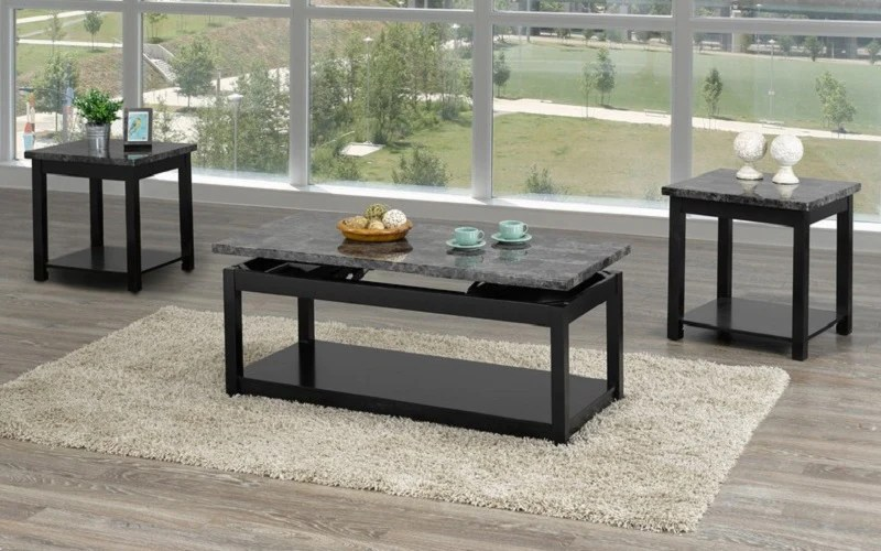 coffee table set with marble lift top 3 pc black grey