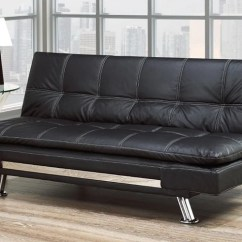 All Leather Sofa Bed Fabric Combination With Chrome Legs Black Furnberry