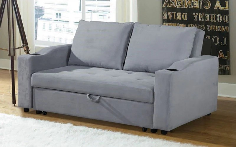 fabric sofa bed with cup holders light grey
