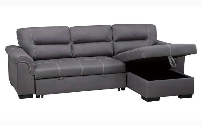 air suede fabric sectional sofa bed with reversible chaise grey