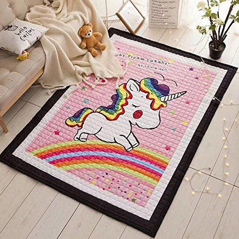 Girls Pink Unicorn Rug  Size 80 x 150cm  All Things Unicorn