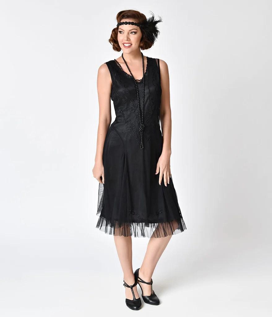 1920s Style Black Embroidered Tara Flapper Dress Unique