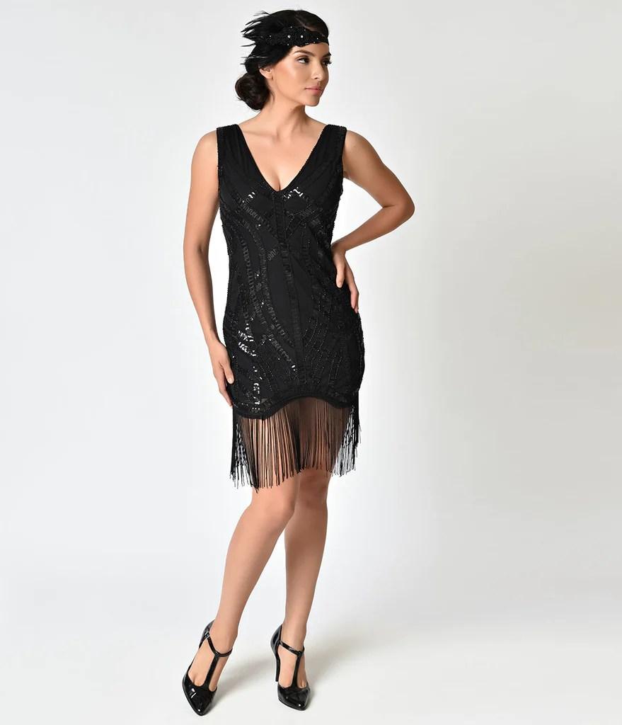 1920s Style Black Sequin & Fringe Flapper Dress Unique