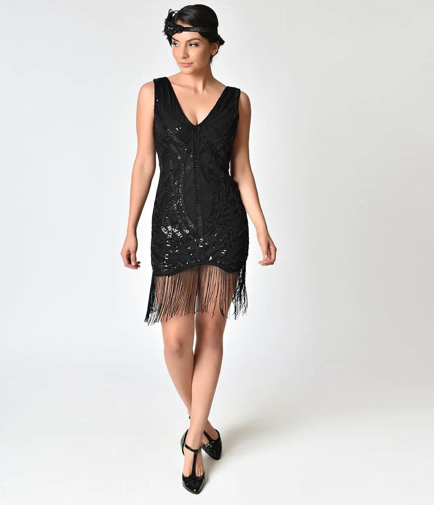 Sequin Fringe Flapper Dress