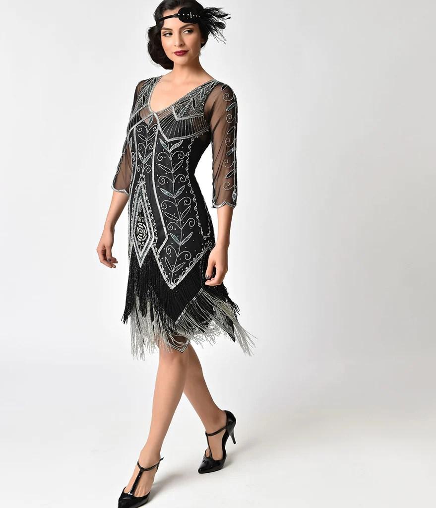 Black Beaded Fringe Flapper Dress 1920s