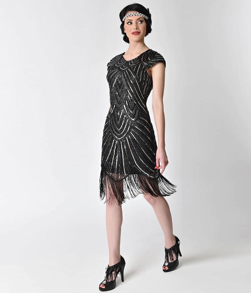 Fringe Flapper Dresses 1920s