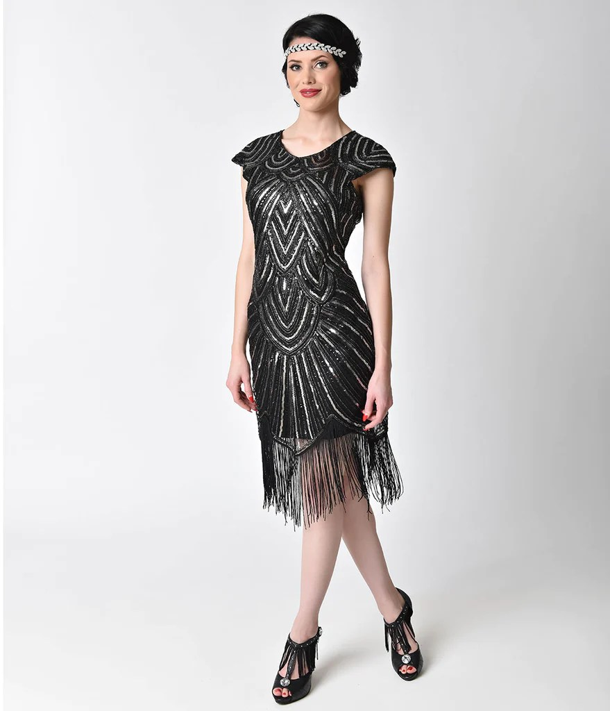 1920s Black Flapper Style Dress