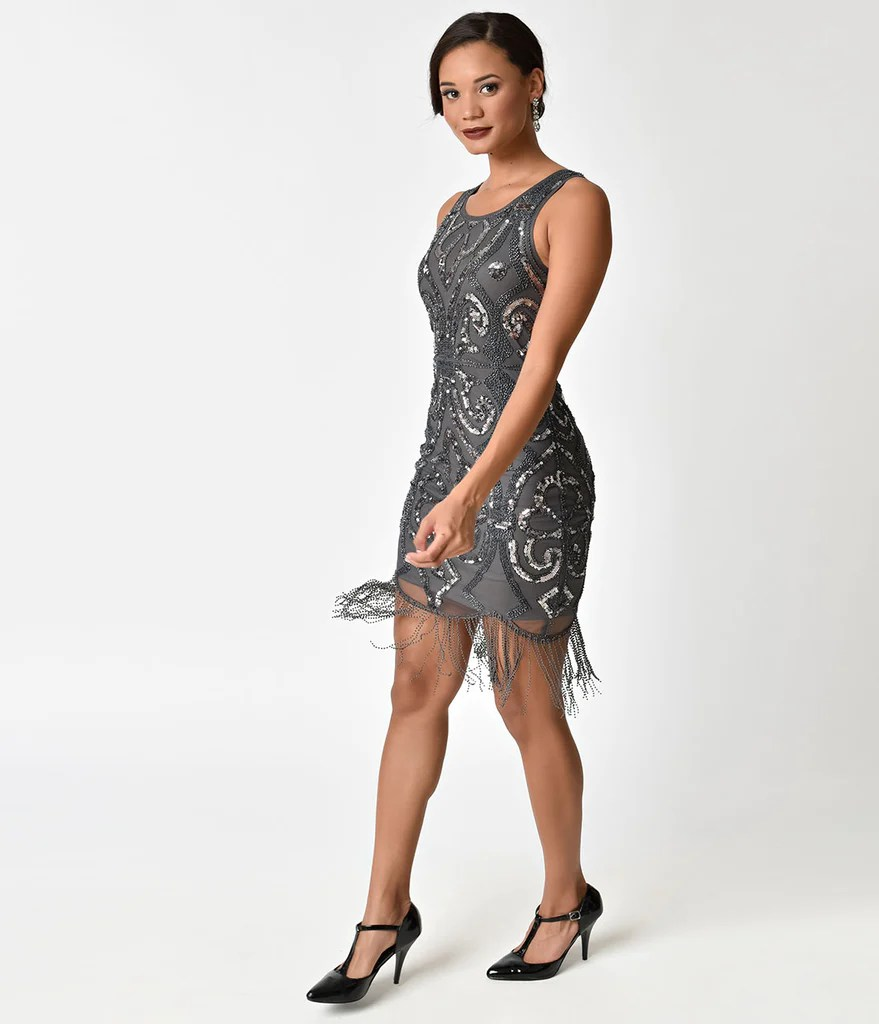 Silver Beaded Cocktail Dress