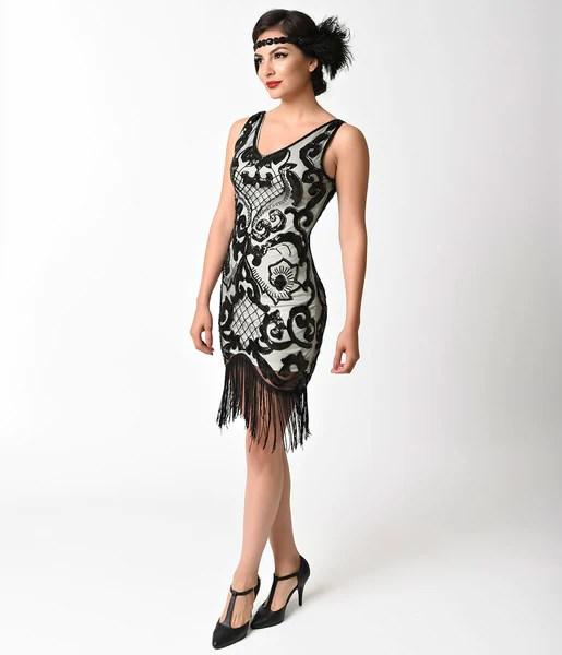 1920s Style Ivory  Black Sequin Mesh Fringe Flapper Dress  Unique Vintage