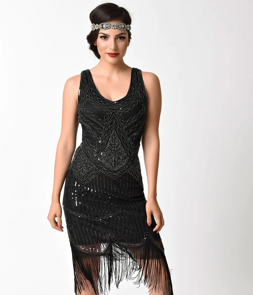 Fringe Silver Beaded Gown Sleeveless