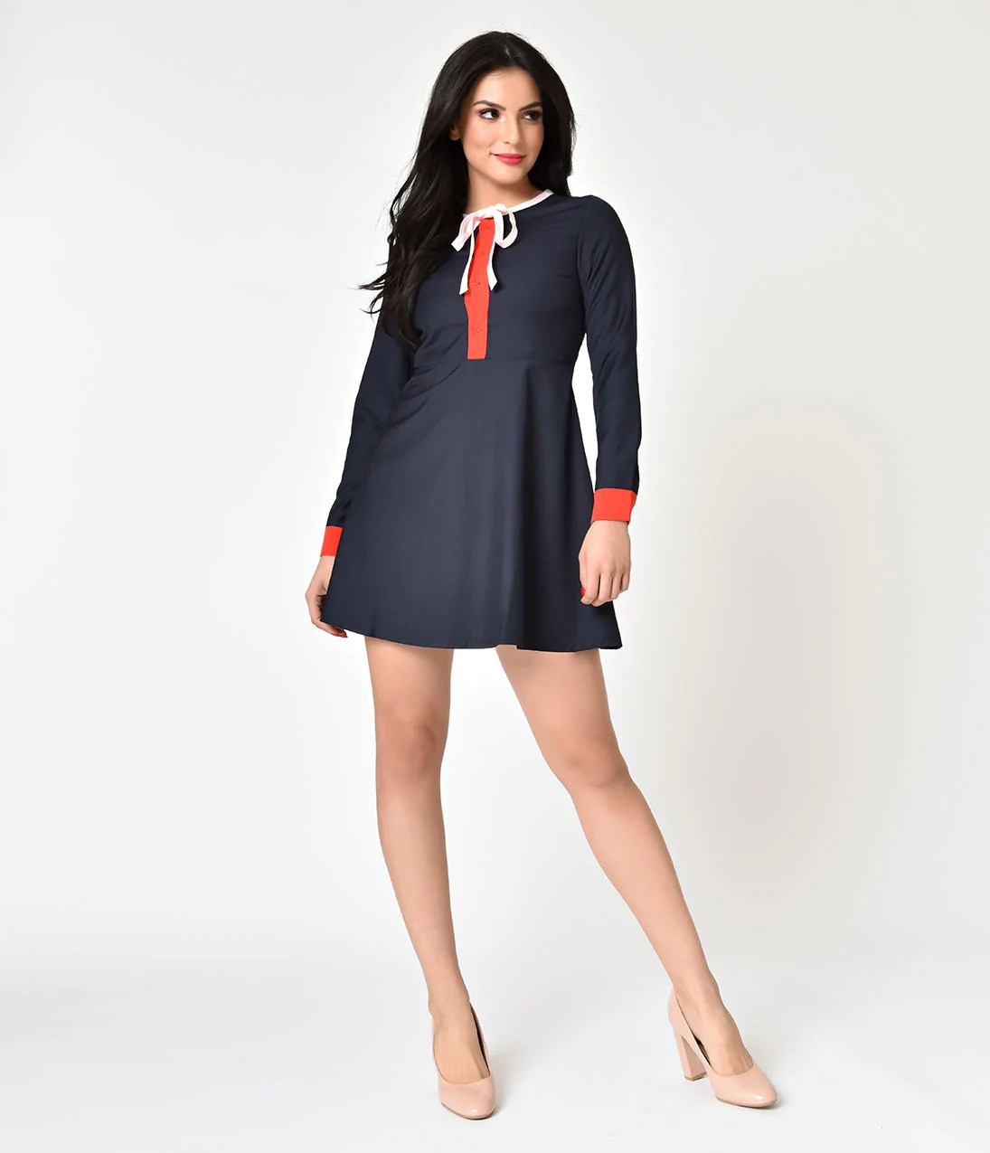 Navy Blue Fit and Flare Dress with Sleeves