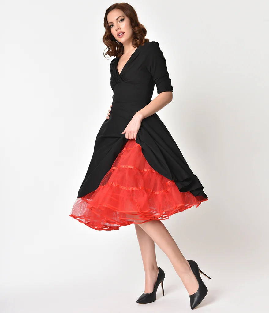 1950s style red tulle