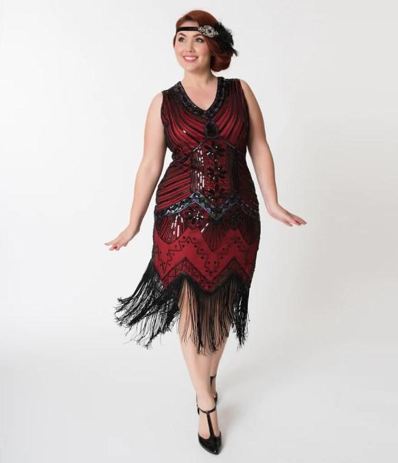 Unique Vintage Veronique Red & Black Plus Size Flapper Dress