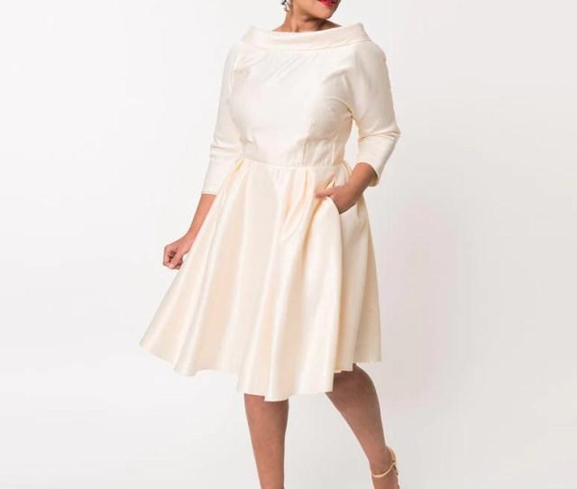 Unique Vintage Plus Size S Style Cream Satin Sleeved Lana Bridal Dress