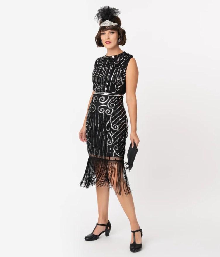 Unique Vintage 1920s Style Black & Silver Beaded Avignon Flapper Dress
