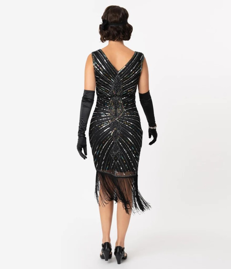 Unique Vintage Black & Silver Sequin Dacquoise Cocktail Flapper ...