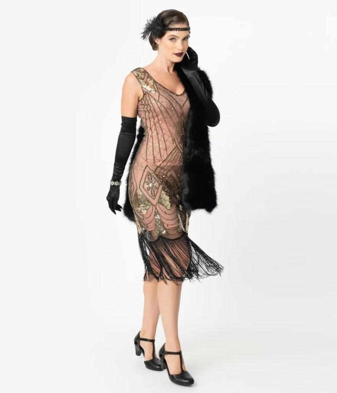 Unique Vintage Rose Pink & Gold Sequin Lina Fringe Flapper Dress