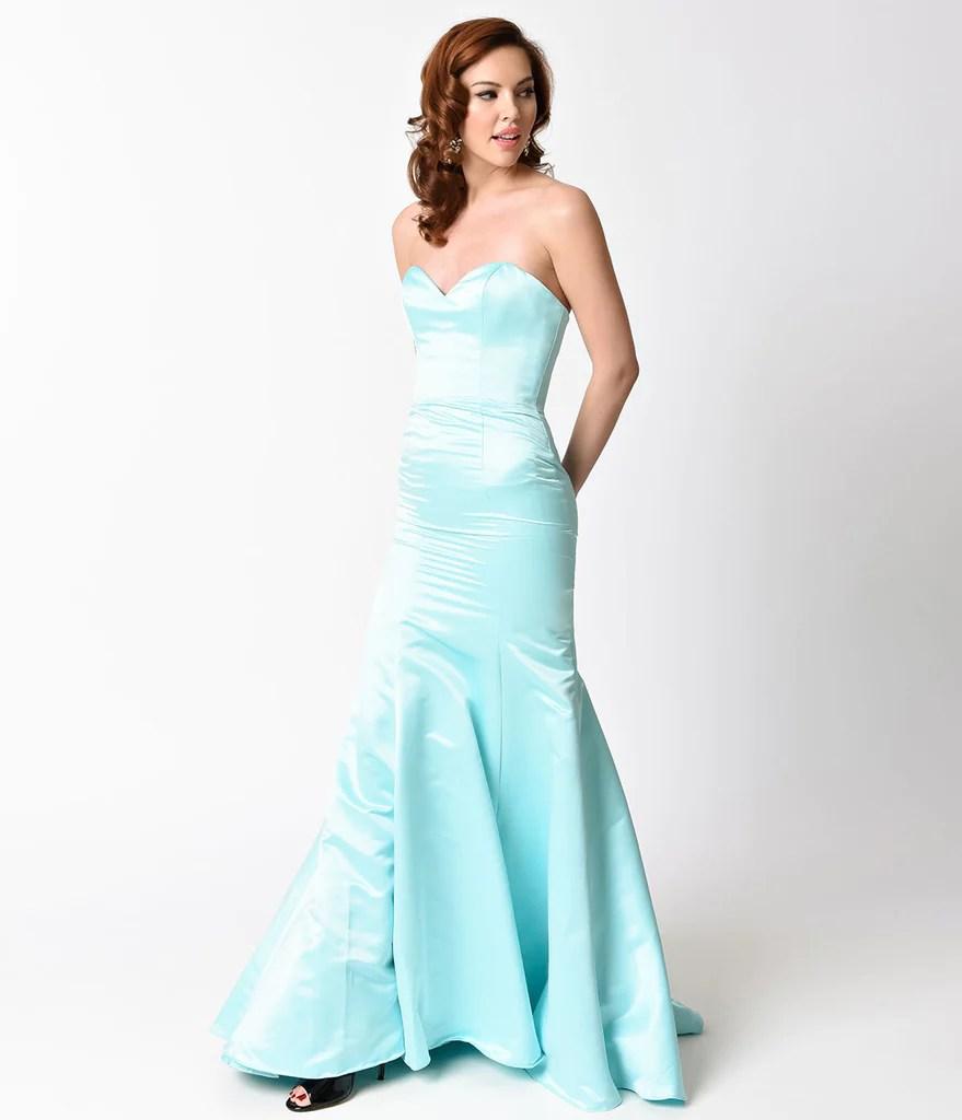 Mint Strapless Satin Sweetheart Mermaid Gown Unique Vintage