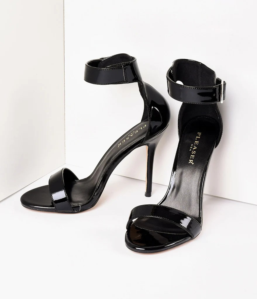 Retro Style Black Patent Ankle Strap Sandal Pumps Unique