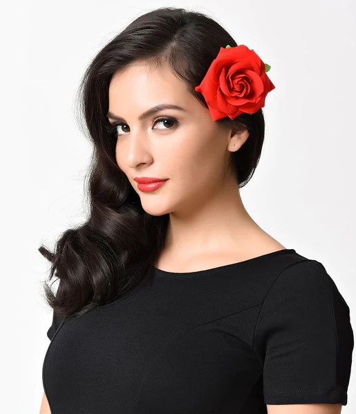 retro style red rose flower hair