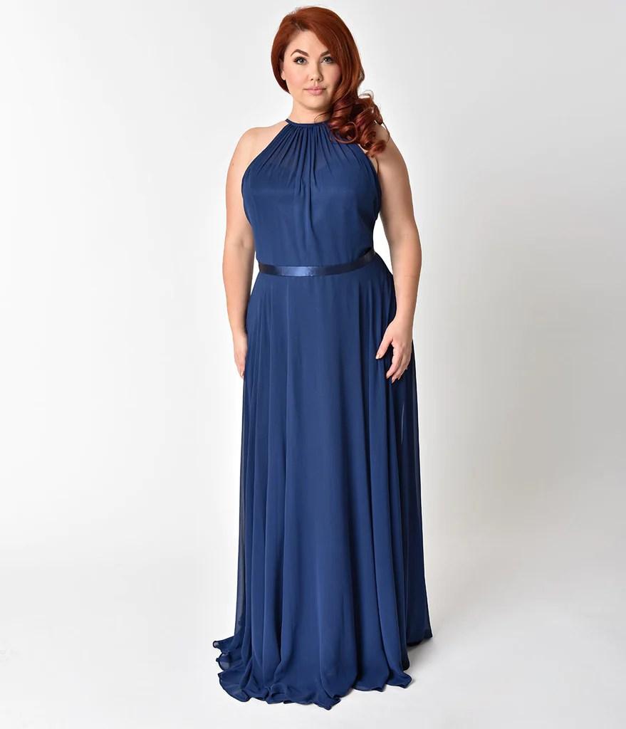 Navy Blue Plus Size Formal Dresses