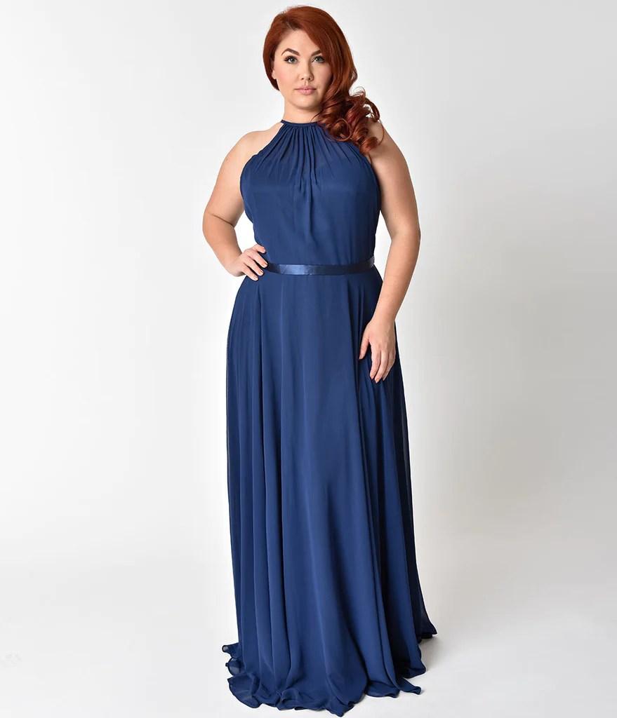 Plus Size Long Navy Blue Dress