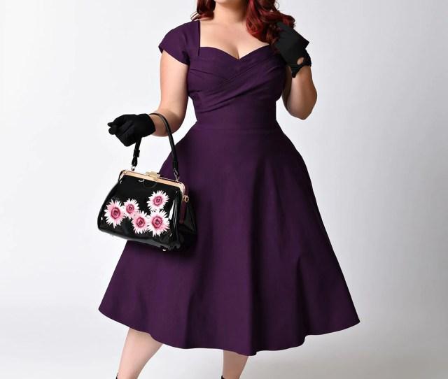 Plus Size Mad Style Eggplant Cap Sleeve Swing Dress