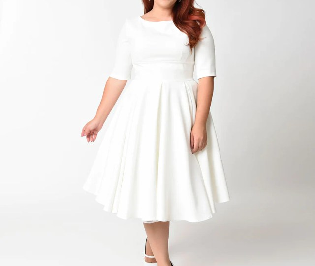The Pretty Dress Company Plus Size Ivory Crepe Sleeved Hepburn Swing Dress