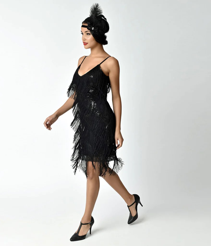 Black Flapper Dresses 1920s Fashion