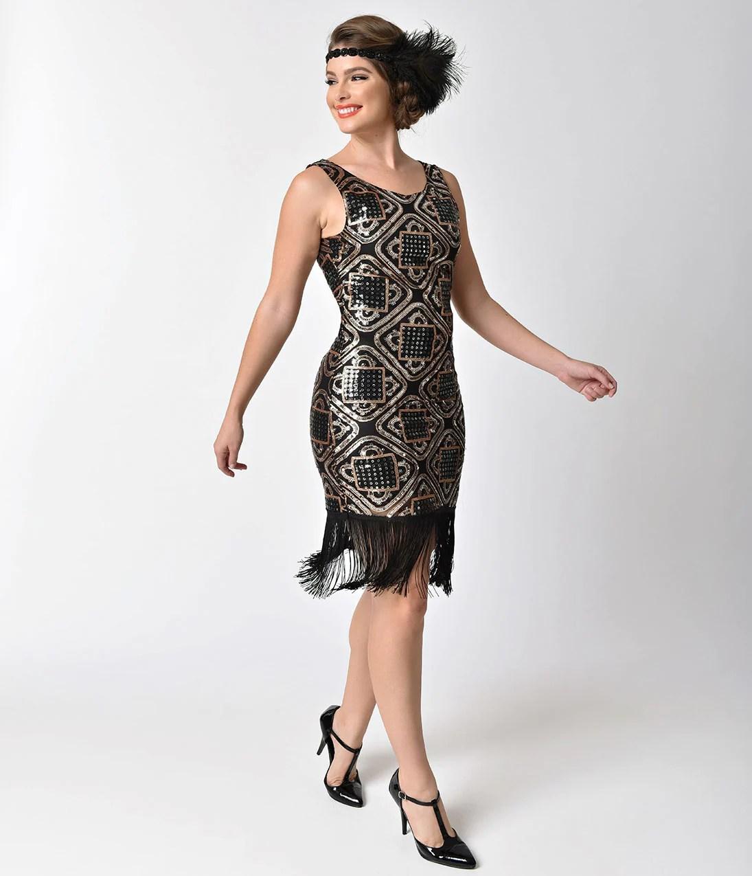 Unique Vintage 1920s Black Flapper Dress