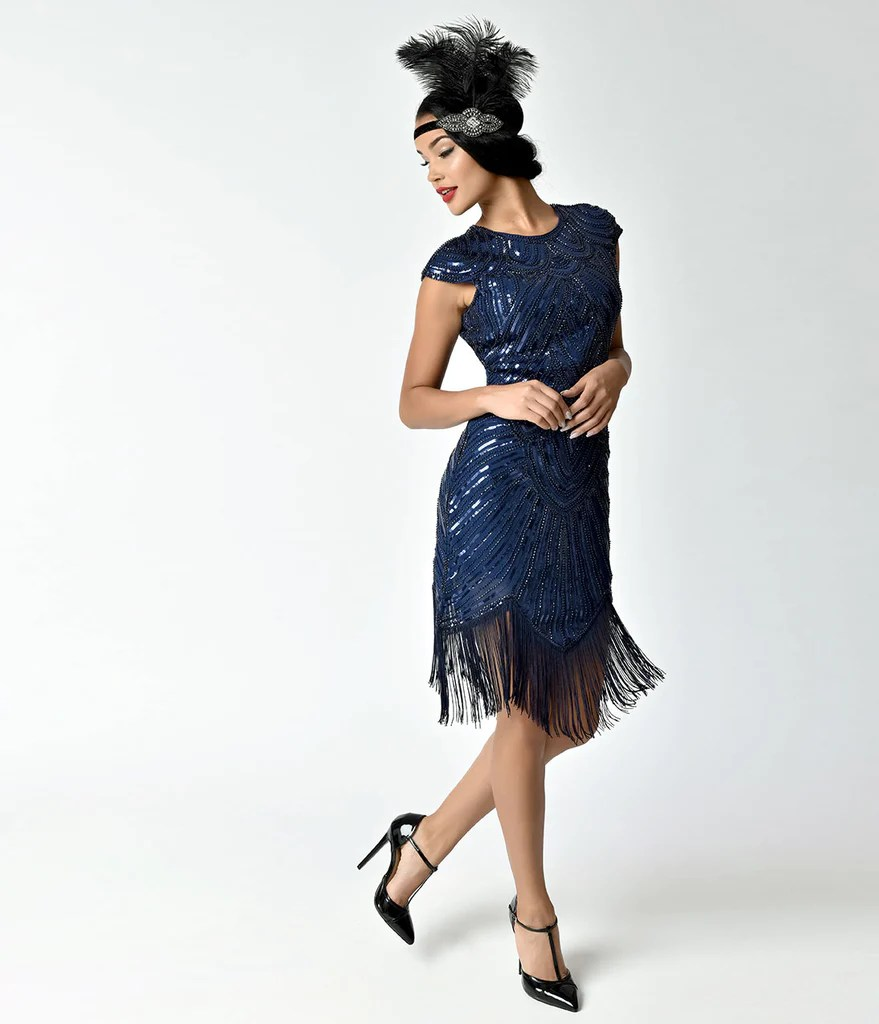 Navy Blue Flapper Dresses Vintage