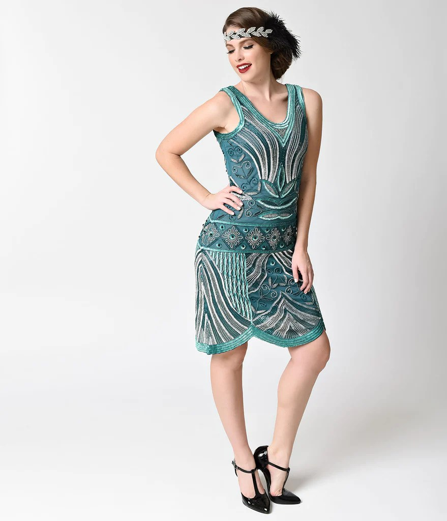 Unique Vintage 1920s Style Teal & Silver Deco Beaded