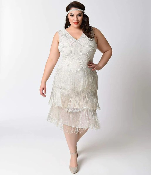 Unique Vintage Plus Size White Beaded Gigi Chiffon Fringe Flapper Dres