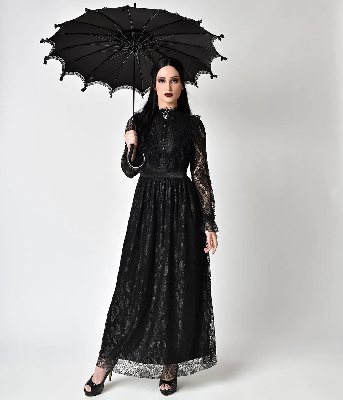 Victorian Style Long Sleeve Black Dress