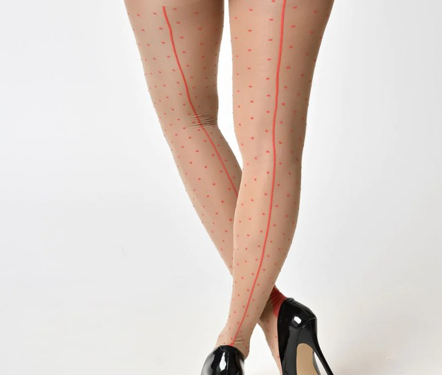 What Katie Did Vintage Style Champagne Red Polka Dot Seamed Stockings