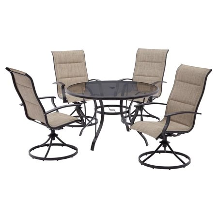 mainstays highland knolls 4pc outdoor dining sling chair tan