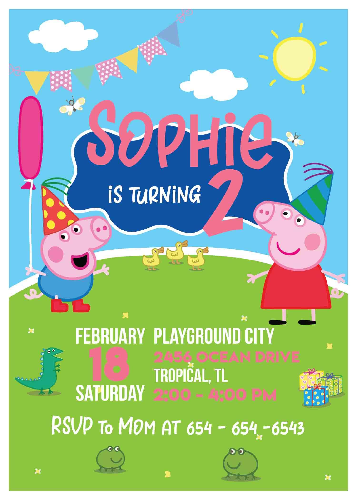Peppa Pig Personalized Invitations