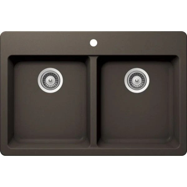 brown kitchen sink moen renzo faucet bristol sinks virtuo b316 top mount granite coffee 33