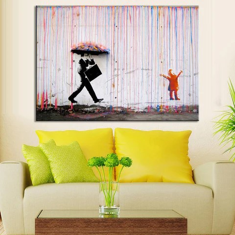 art in living room drapes for windows banksy colorful rain wall canvas decor paint