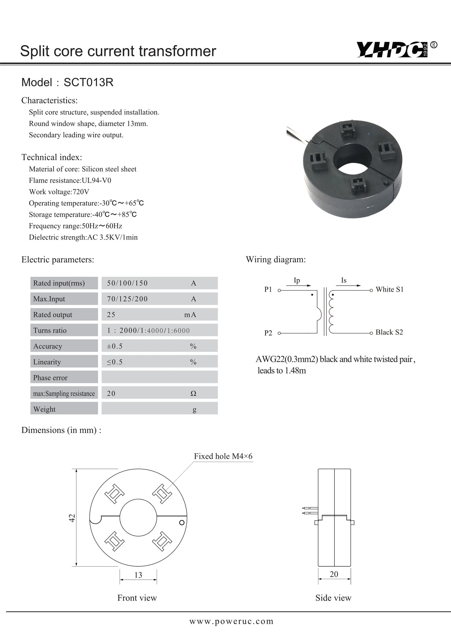hight resolution of split core current transformer sct013r rated input 50a 100a 150a rated output 25ma