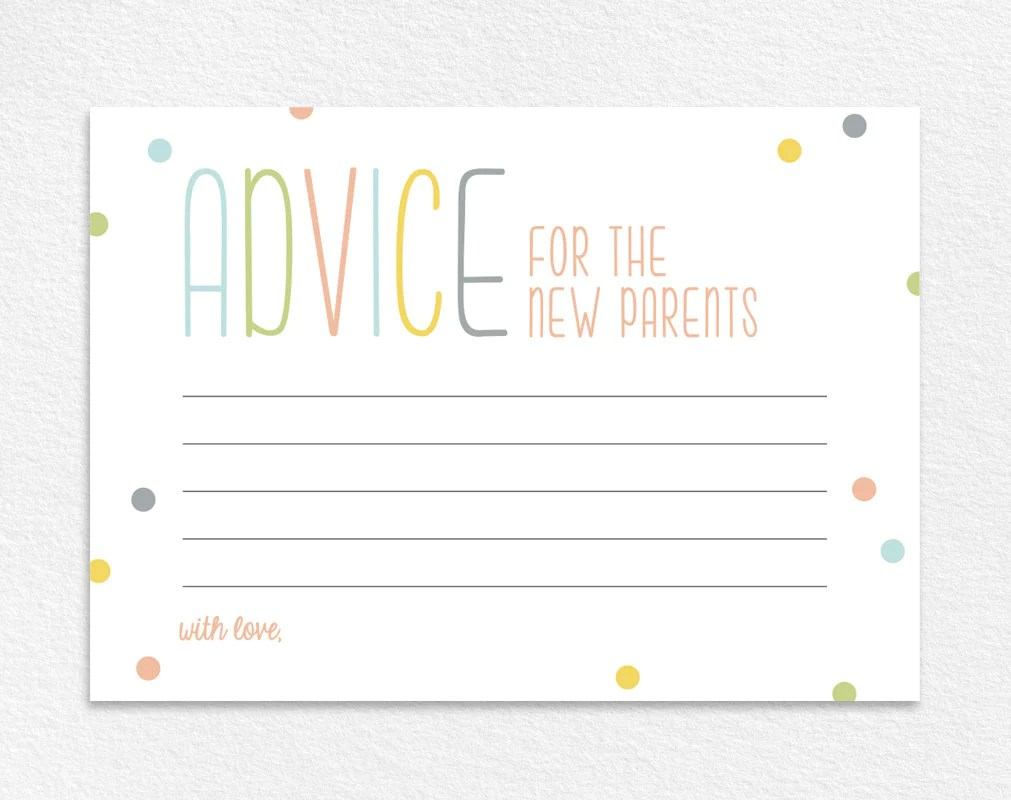 Advice for the New Parents, Baby Shower Advice Card, Baby Shower Wishes,  Baby