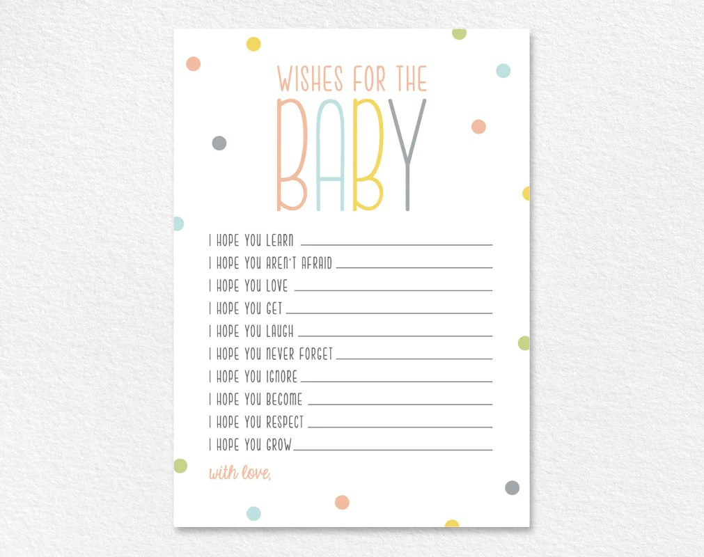 Wishes For Baby, Well Wishes, Printable, Shower Wishes, Gender Neutral, Baby