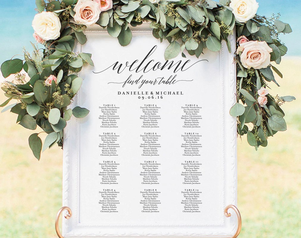 Wedding seating chart sign printable template board also rh blisspaperboutique