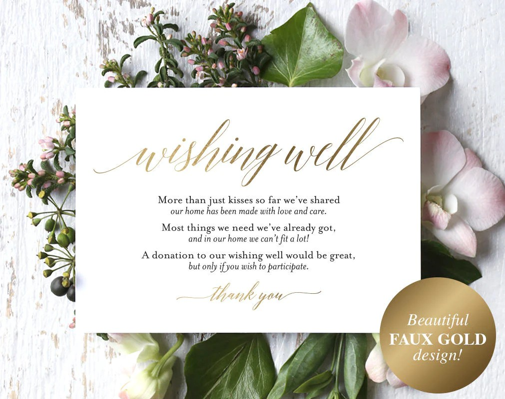 Faux Gold Wishing Well Card Wedding Wishing Well Wishing Well Printa Bliss Paper Boutique