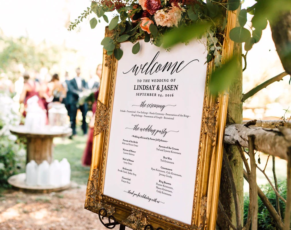 wedding program sign welcome wedding sign program sign wedding sign wedding poster template diy pdf instant download bpb310 60