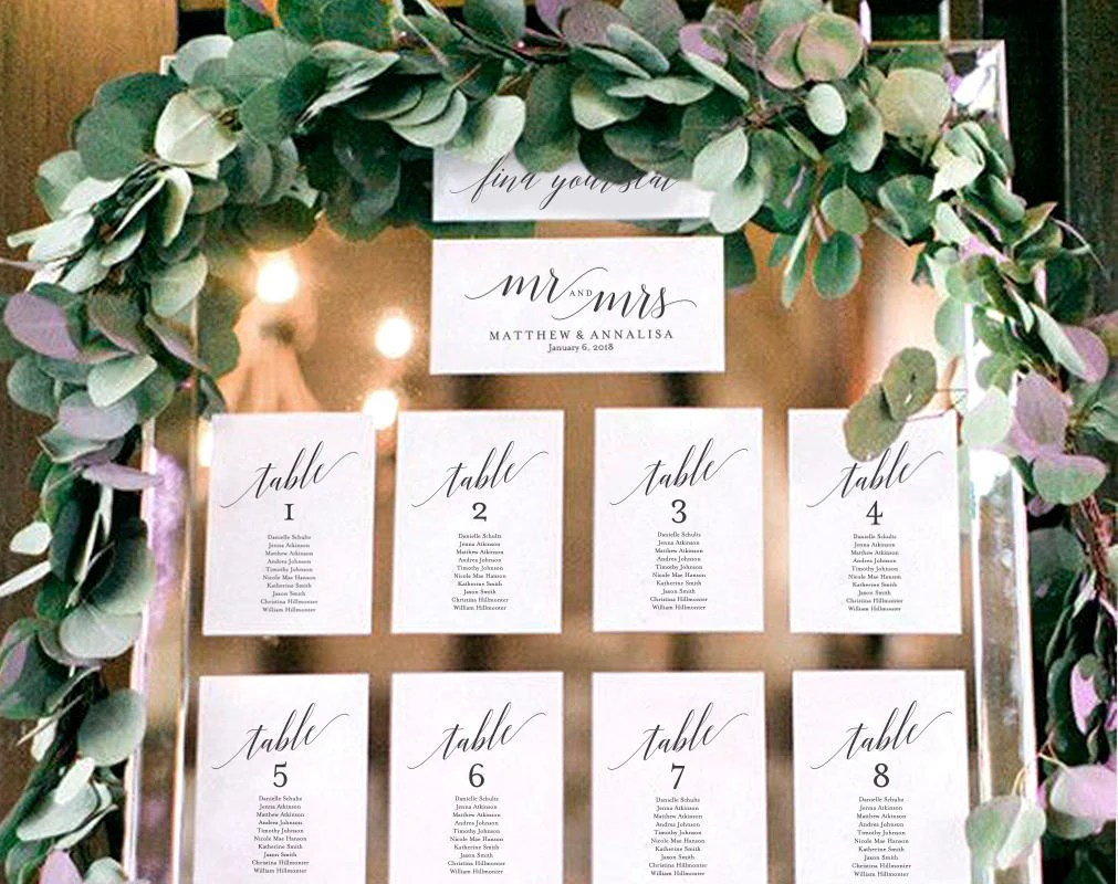Wedding seating chart template display cards table also rh blisspaperboutique