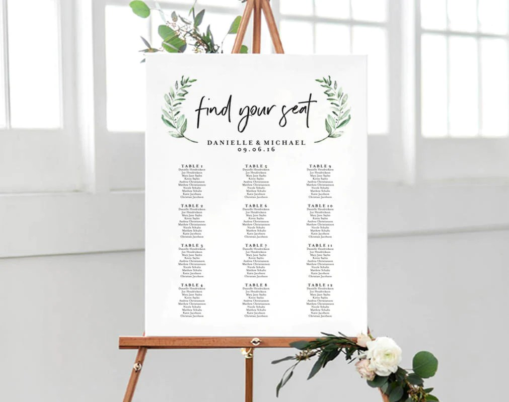 Greenery wedding sign seating chart template alphabetical also rh blisspaperboutique